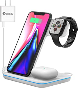 Wireless Charging Station, 3 in 1 Qi Charger for Apple Watch 1/2/3/4/5/SE/6 Airpods 2/pro Wireless Charger for iPhone 12/11/11 Pro/11 Pro Max/XS Max/XS XR Plus Samsung S10 S9 S8 S7