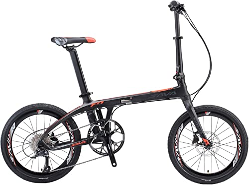 SAVADECK Folding Bike, 20 inch Carbon Fiber Folding Bicycle Portable Folding Bikes Mini City 22 Speed Foldable Bicycle with 105 and Hydraulic Disc Brake