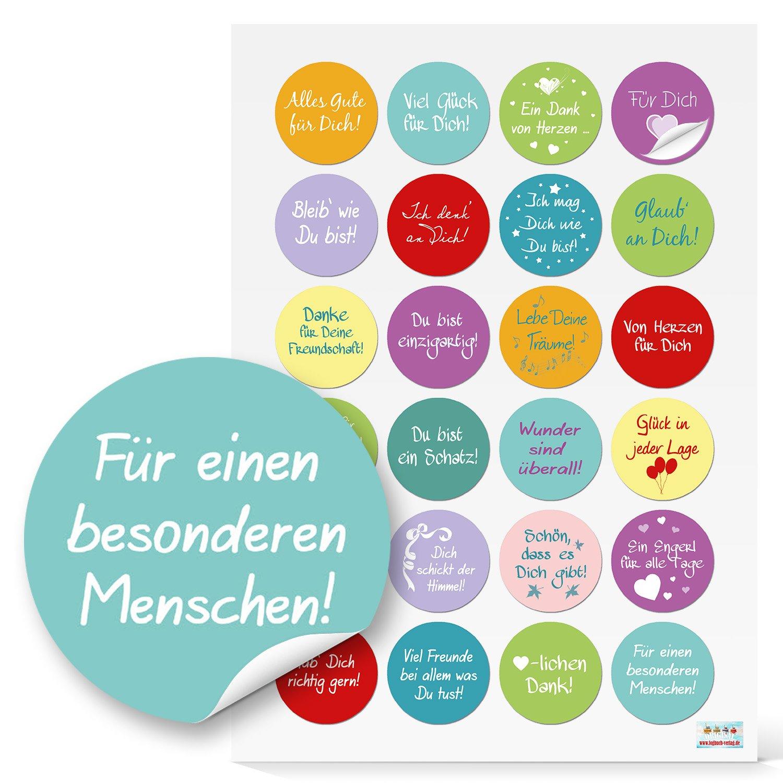 24 kleine runde bunte farbige SPRÜCHE Aufkleber 4 cm Sticker Liebe ...