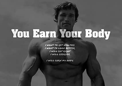 Motivational Arnold Schwarzenegger 11 Earn Your Body Quote Gym Determination A3 Poster Quote Sign Poster Print Picture Sports Boxing