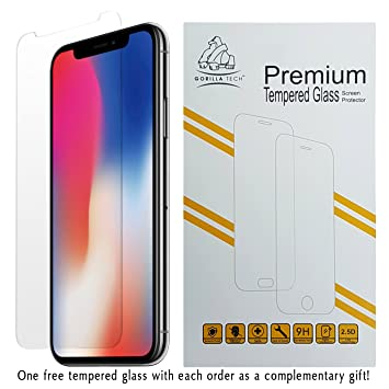 newest b273c 213e5 Gorilla Tech Premium Tempered Glass Screen Protector for Apple iPhone  X/iPhone 10 and iPhone XS Invisible Shield Cover 9H Hardness Crystal Clear  HD ...