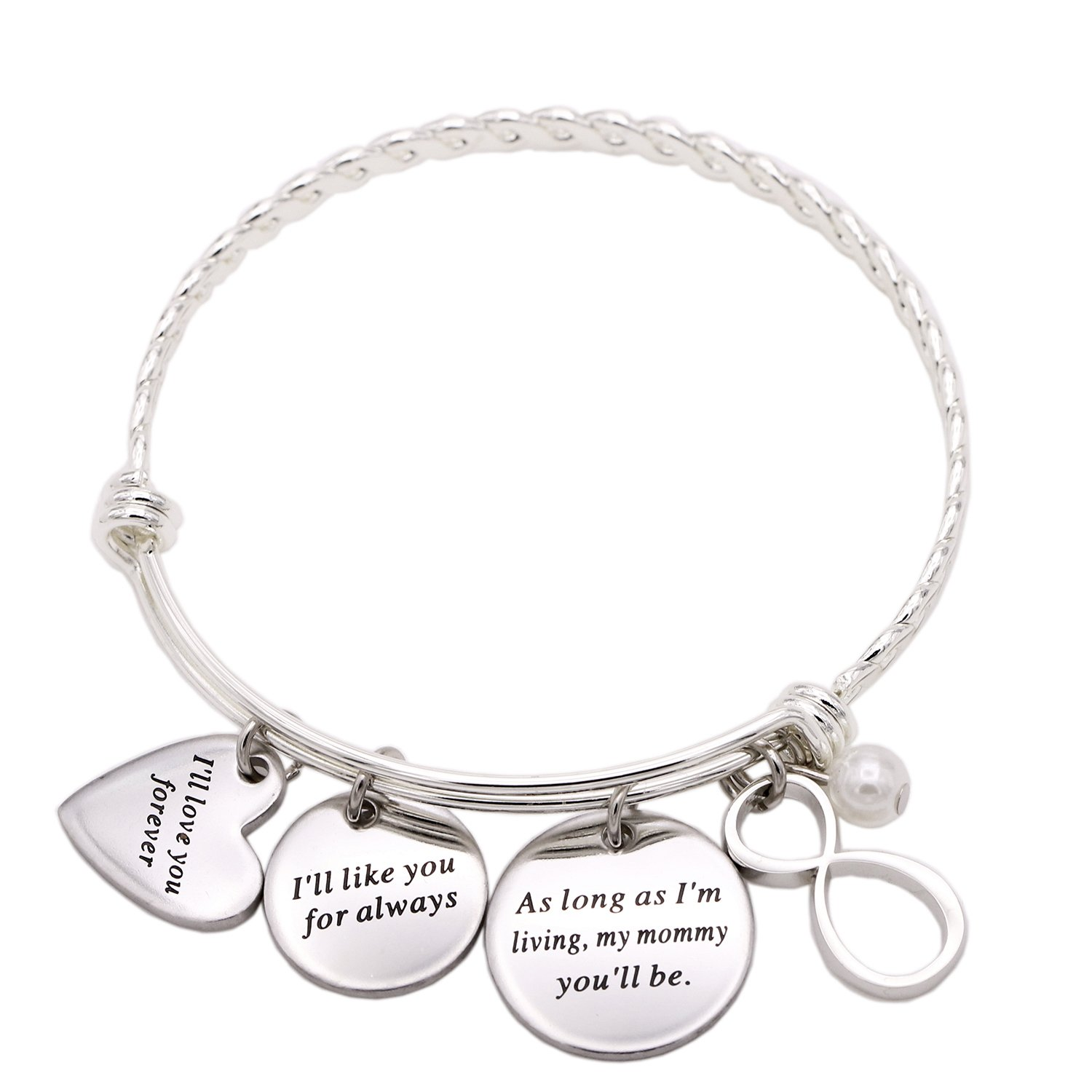 Melix Inspirational Jewelry, I'll Love You Forever Stainless Steel Bangle Bracelet Adjustable, Christmas Gift for Mother (White01) by Melix (Image #1)