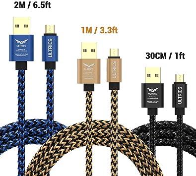 ULTRICS Cable Micro USB (3 Pack), Trenzado Nylon Carga Rápida y ...