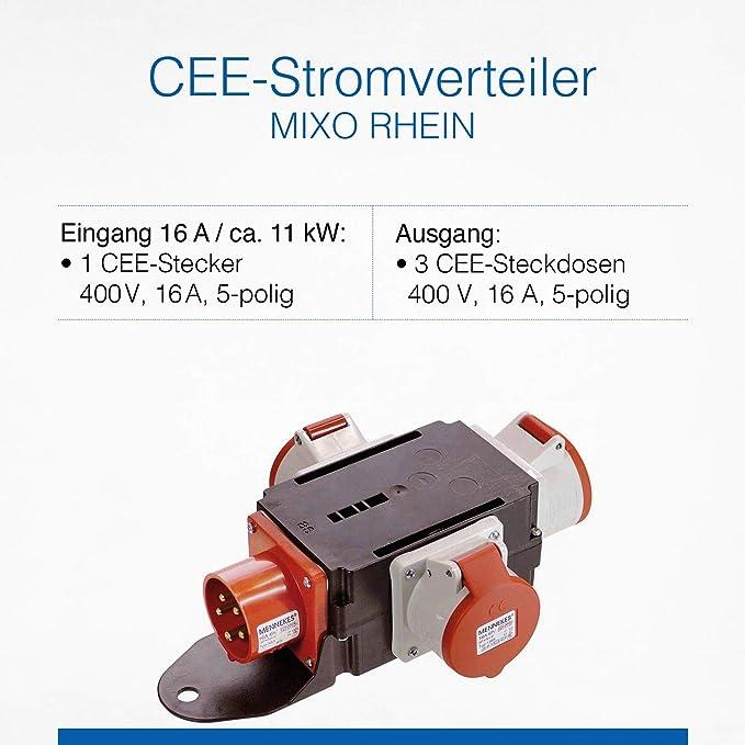 As Schwabe Mixo Adapter Stromverteiler Rhein 5 Poliger Cee Stecker Auf 3 5 Polige Cee Steckdosen Robuster Baustellen Starkstrom Verteiler Ip44 Made In Germany I 60531 Baumarkt