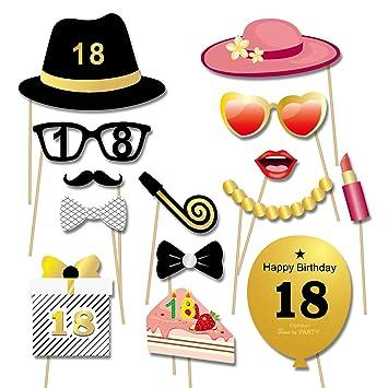 Konsait 55 Piezas 18 cumpleaños photocall DIY Photo Booth Atrezzo Favorecer cumpleaños Accesorios Decoracion Fiesta 18 cumpleaños