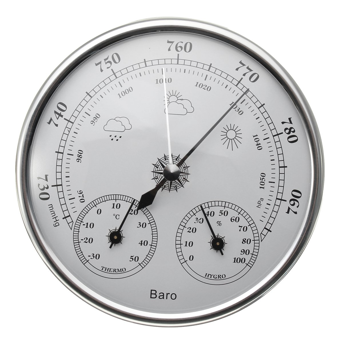 130Mm 970~1040Hpa Hanging Weather Thermometer Barometer Hygrometer \ Camping Essential Travel Gear BBQ Man Kitchen Backpacking Products Hiking Camper Park Men Outdoor Sleeping Supplies Trekking Items Generic