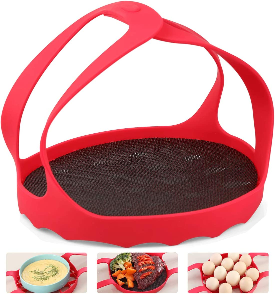 Silicone Pressure Cooking Sling Silicone Pressure Cooker Rack Sling Steamer 100% Food Grade Silicone Bakeware Sling Lifter Steamer Egg Rack for 6Qt / 8Qt Instant Pot and Other Pressure Cookers