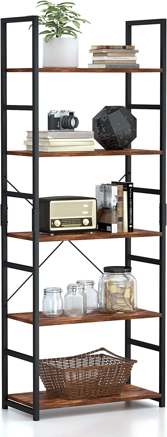 5 Tier Bookshelf, Tall Bookcase Shelf Storage Organizer, Modern Book Shelf for Bedroom, Living Room and Home Office, Vintage