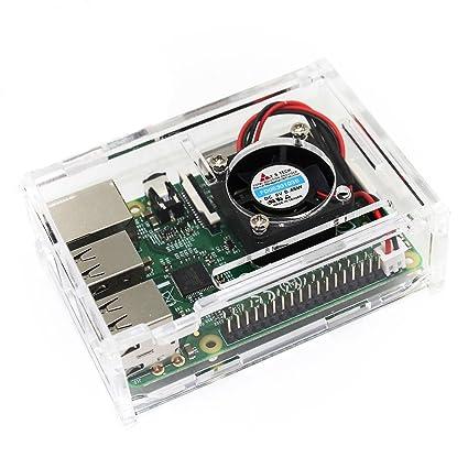 TRIXES Caja Acrílica Transparente con Ventilador de Enfriamiento para Raspberry Pi Modelo B+, Raspberry Pi 2 Modelo B y Raspberry Pi 3