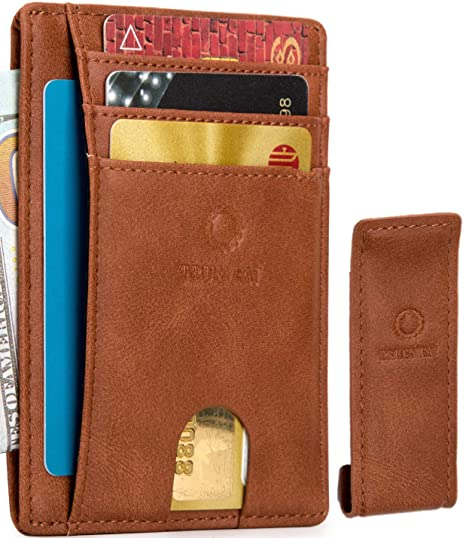 764701169a26 Truemen wallets for men with extra money clip slim mens front pocket ID  wallet minimalist RFID blocking leather card holder