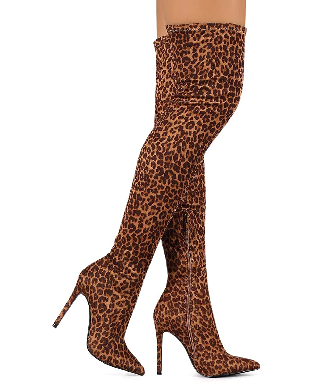 Liliana DB55 Women Pointy Toe Thigh High Single Sole Stiletto Boot - Leopard