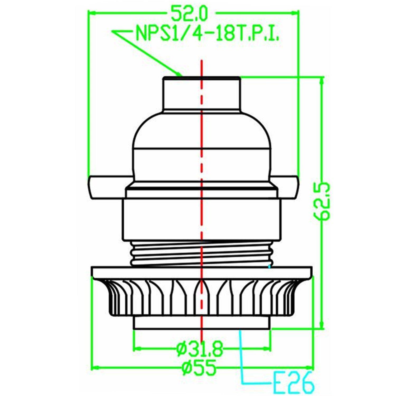 EFINEHOME Lamp or Fixture Replacement Phenolic Medium Base Light Socket Thread and Ring Push Through 1//8 IP Thread Cap -2 Pack