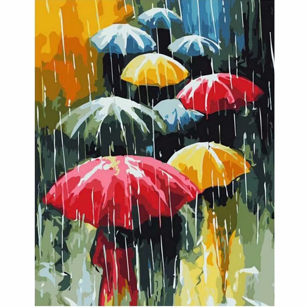 SUBERY Paintworks DIY Oil Painting Paint by Number Kits for Adults Kids Beginner - Various Color Umbrellas 16x20 inches (Wooden Framed)