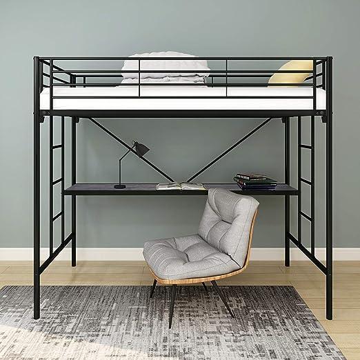 HOMERECOMMEND Litera de metal con cama de escritorio con escalera y rieles de seguridad, acabado negro, dormitorio: Amazon.es: Hogar