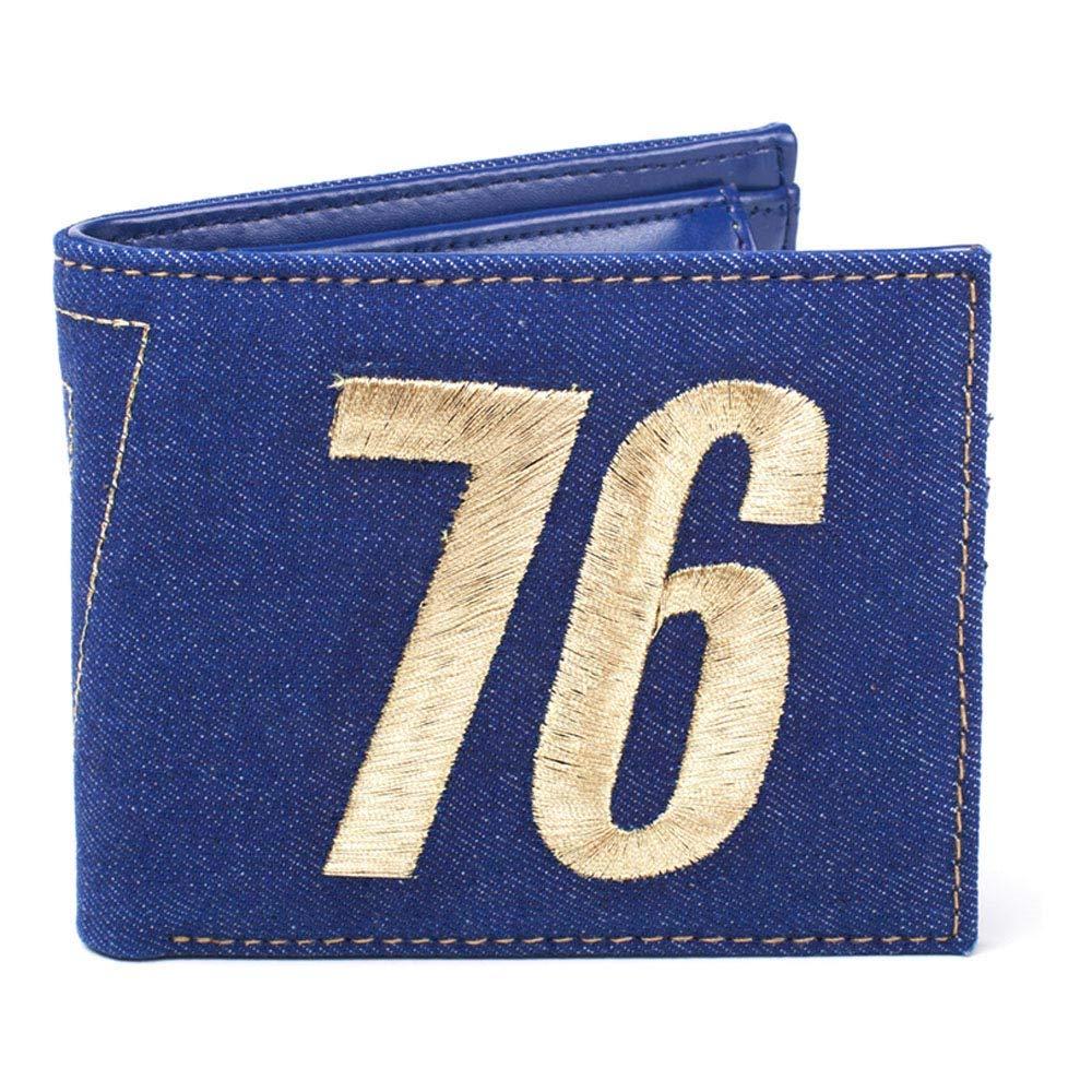 Fallout FALLOUT 76 Embroidered Vault Vintage Denim Bi-Fold Wallet, Male, One Size, Blue (MW060533FAL) Porte-Monnaie, 16 cm, Bleu (Blue) BIO-MW060533FAL