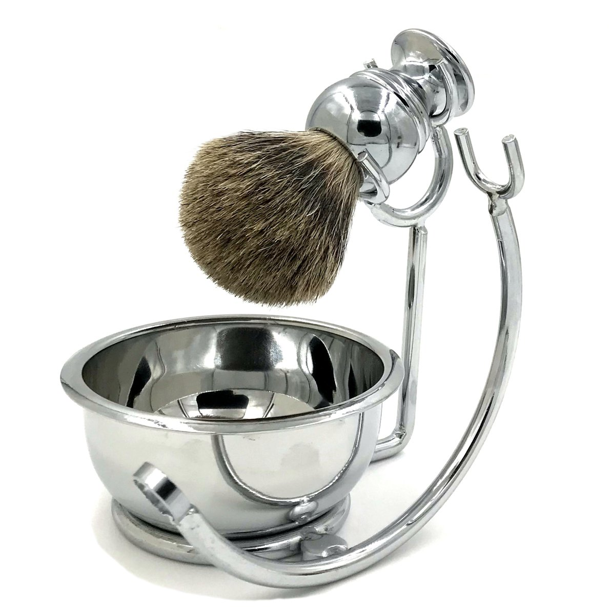 Professional Mens Shaving Stand Razor Brush Stand + Genuine Badger Hair Shaving brush + Perfect Stainless Steel Heavy Shaving Soap Bowl for Double Edge Safety Razor or Multi Blade Razor Shanwo