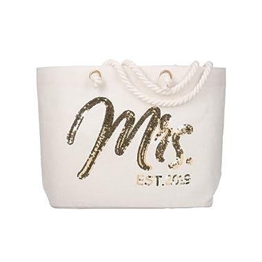 ElegantPark Wifey Wedding Bride Tote Bridal Shower Gift Interior Pocket White Jumbo Shoulder Bag with Gold Sequin 100% Jute
