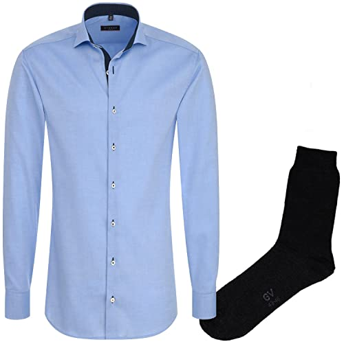 ETERNA Herrenhemd Slim Fit, hellblau, Fein Oxford + 1 Paar hochwertige Socken, Bundle