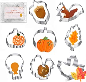 Thanksgiving Cookie Cutters 8PCS Fall Leaves Cookie Cutter Set Turkey, Pumpkin, Maple/Oak Leaf, Corn,Squirrel and Acorn Turkey Leg