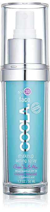 COOLA Organic Suncare,  Green Tea and Aloe Makeup Setting Spray, SPF 30, 1.7 fl. Ounce, Organic Skincare