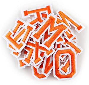 Letter Iron On Patches Sew On Appliques with Ironed Adhesive Orange Embroidered Decorative Repair Patches for Shoes Hat Bag Clothing(26PCS Alphabet Letters Set)