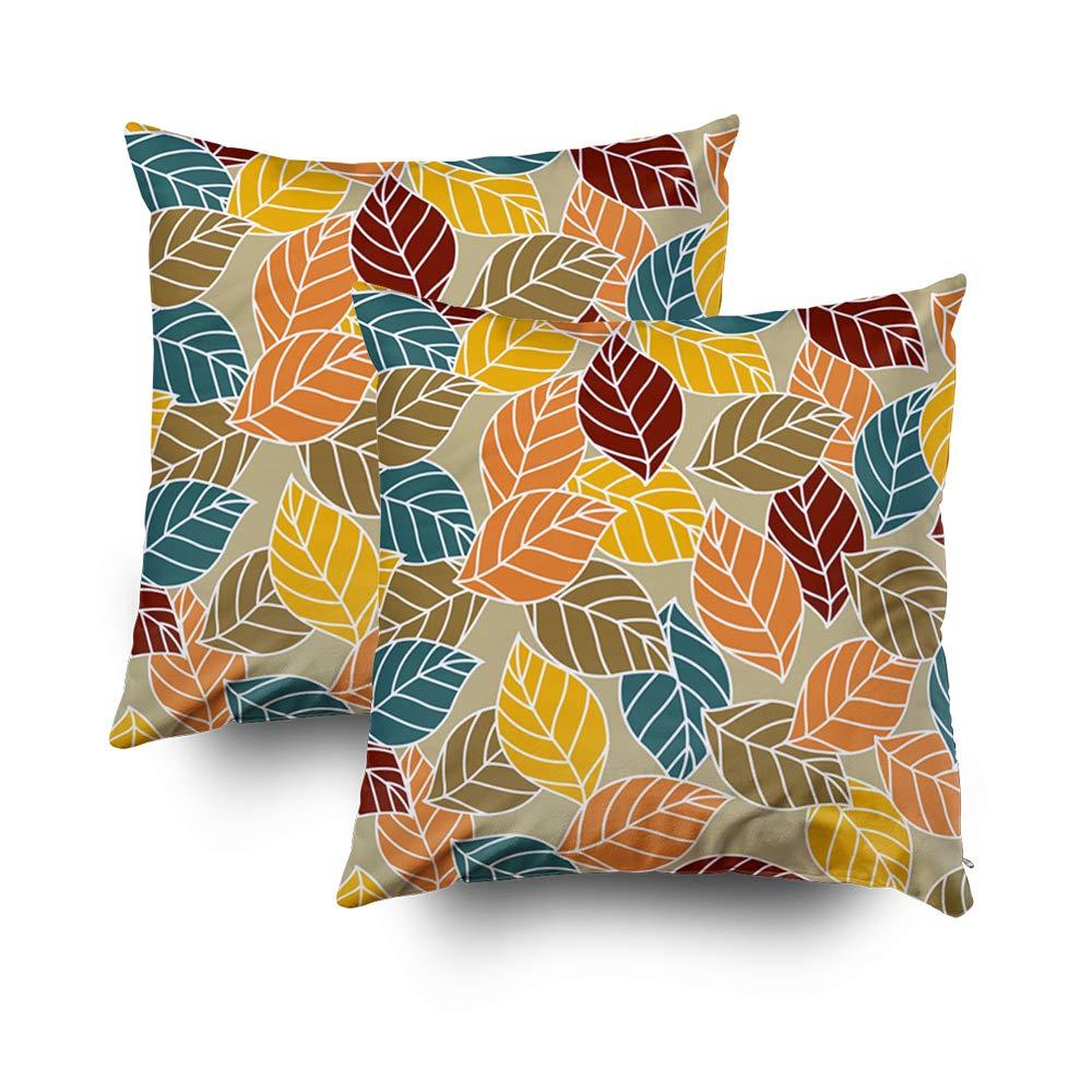TOMWISH 2 PACKS Hidden Zippered Pillowcase cute fall seasonal leaf pattern home decor 18X18Inch,Decorative Throw Custom Cotton Pillow Case Cushion Cover Home