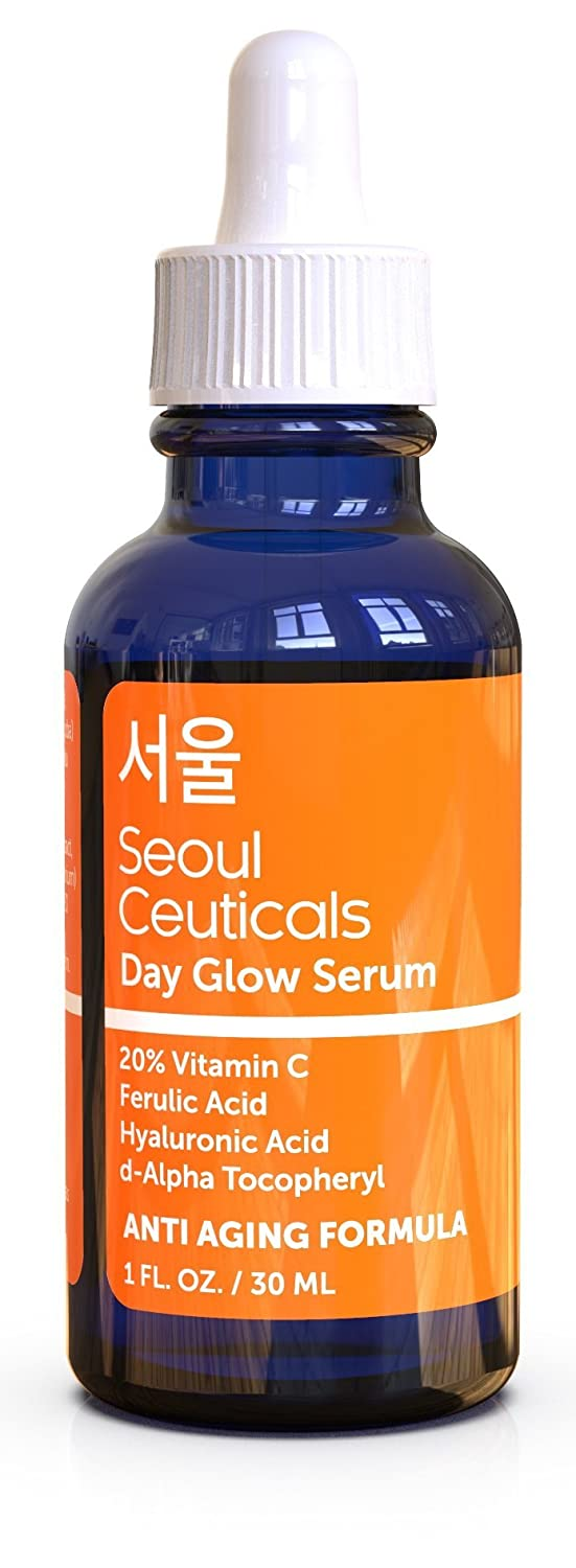 Seoul Ceuticals Korean Skin Care - 20% Vitamin C E Ferulic Serum + Hyaluronic Acid + Ferulic Acid + Vitamin E, Provides Potent Anti Aging, Anti Wrinkle Results (1 oz)