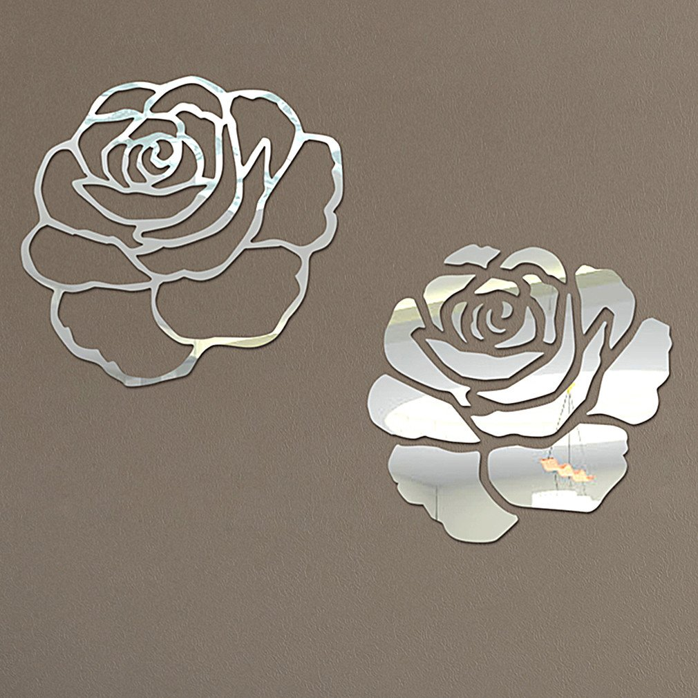 DIY - Do It Yourself New Wall Mirror Stickers, Roses, Made of Acrylic Material Like Mirror, Modern Design for Home Living Room Bedroom Kitchen Baby Child Novelty Luxury Crystal Wall Silent Watch Extra Large Clocks, Silver