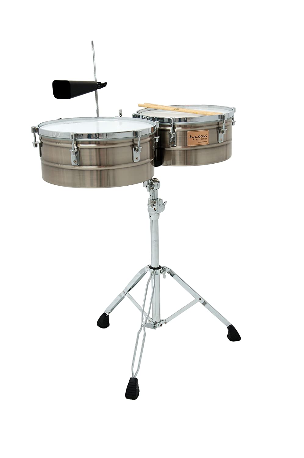 Tycoon Percussion 14 Inch & 15 Inch Brushed Chrome Shell Timbales TTI-1415 BC