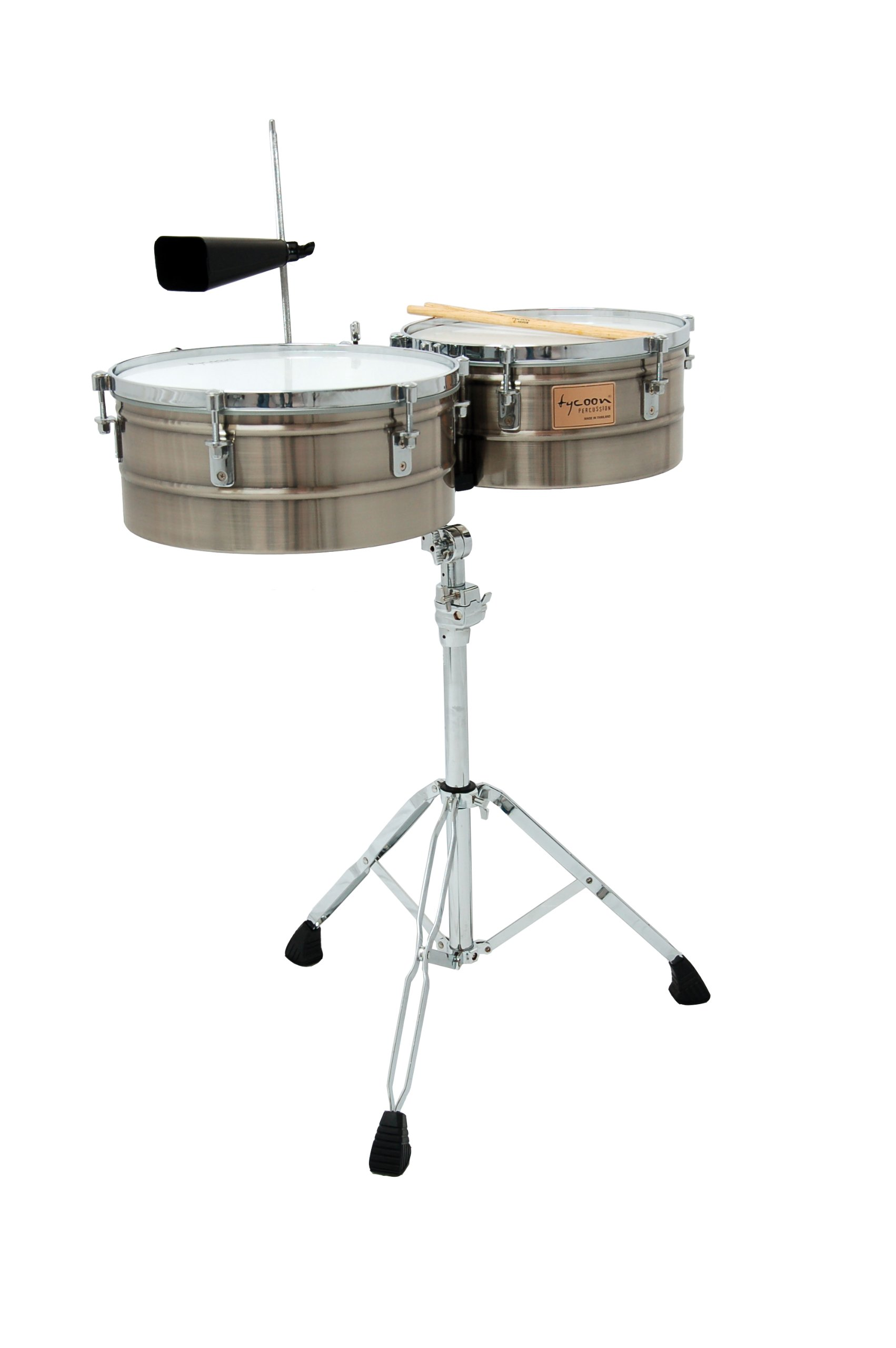 Tycoon Percussion 14 Inch & 15 Inch Brushed Chrome Shell Timbales by Tycoon Percussion