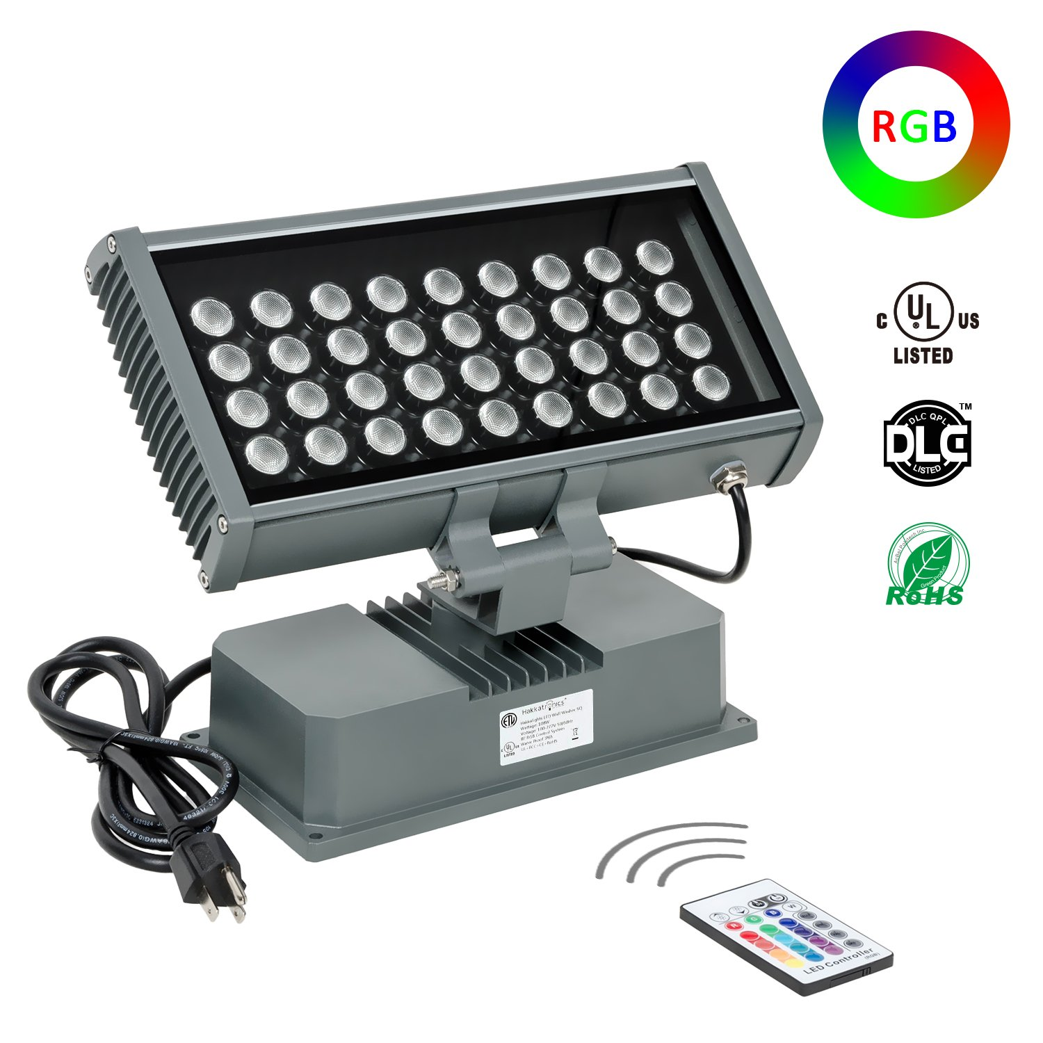 H-TEK 108W RGBW LED Wall Washer Light with RF Remote Controller, Color Changing LED Flood Light for Outdoor/Indoor Lighting Projects Hotels, Resorts, Casinos, Billboards, Building Decorations, Parties