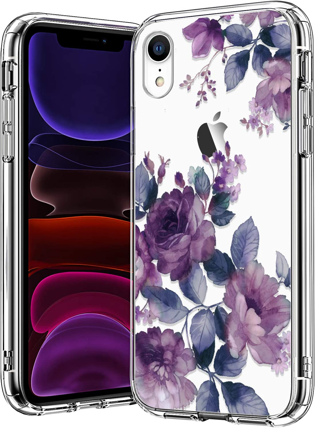 BICOL iPhone XR Case,Elegant Purple Floral Flower Pattern Clear with Design for Girls Women Plastic Hard Back Cover with Soft TPU Bumper Protective Phone Case for Apple iPhone XR