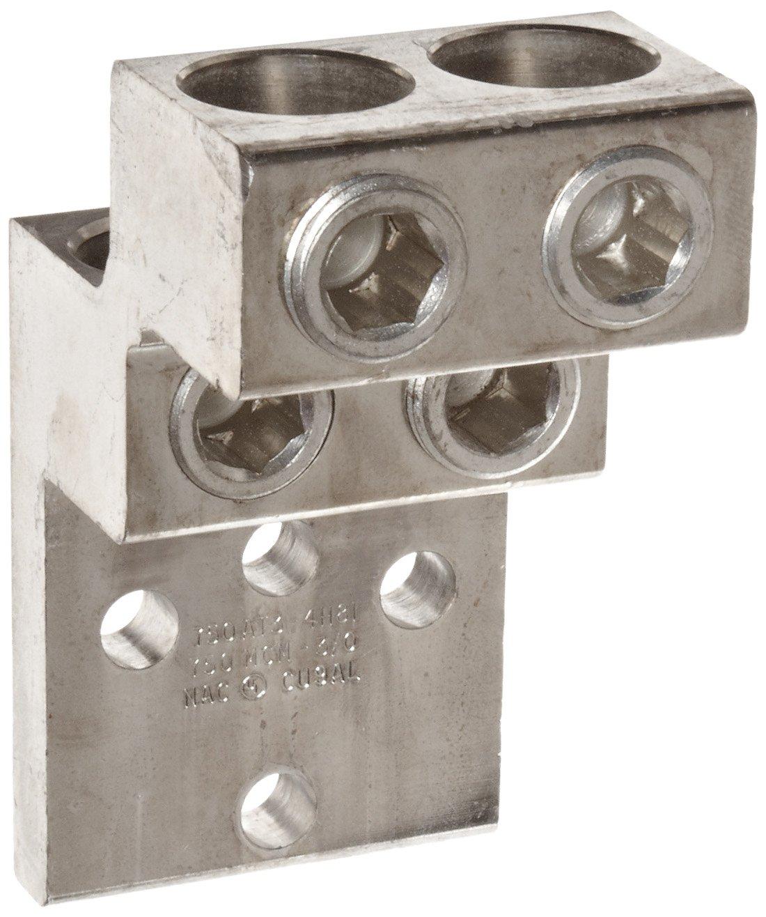 Morris Products 90926 Mechanical Panelboard Lug, Four Conductors, Aluminum, 750 AWG, 750mcm - 3/0STR. Wire Range