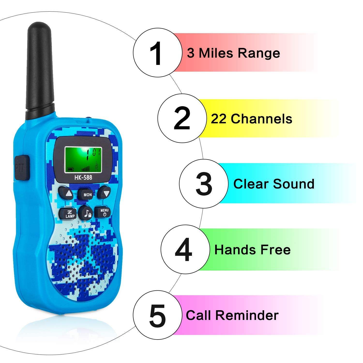 Walkie Talkies for Kids, Handheld Woki Toki Toys for Boys and Girls with Flashlight, License Free Kids Survival Gear for Hunting and Outdoor Adventure by VERDUO (Image #1)