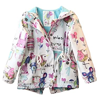 19b1bc0fb Amazon.com  Kids Baby Toddler Girls Spring Fall Cartoon Trench Coat ...