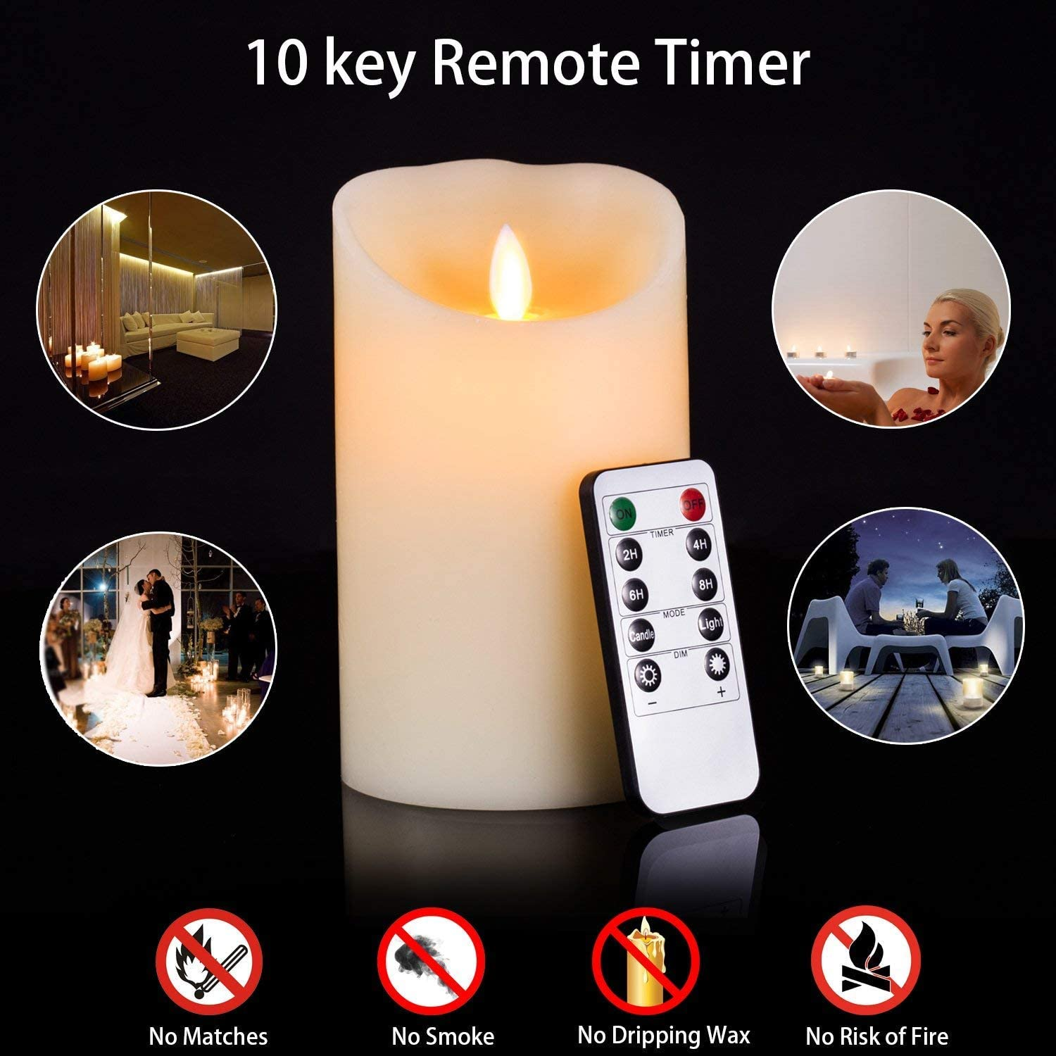 4 5 6 Pack of 3 Burgundy Aku Tonpa Flameless Candles Battery Operated Pillar Real Wax Flickering Moving Wick Electric LED Candle Gift Set with Remote Control Cycling 24 Hours Timer