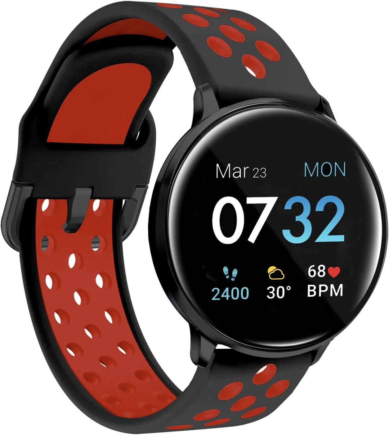 iTouch Sport 3 Smartwatch Fitness Tracker Body Temperature Heart Rate Step Counter Sleep Monitor IP68 Waterproof for Women & Men up to 30 Day Battery Touch Screen Compatible w Android & IOS (45mm)