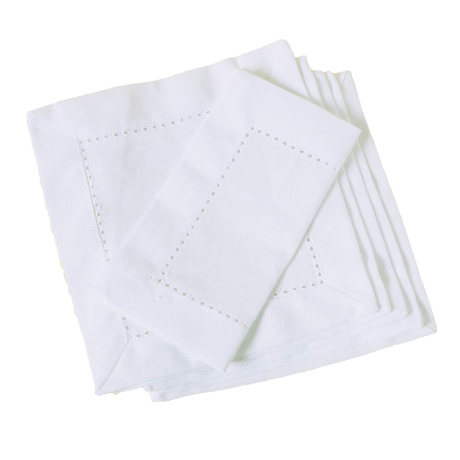 100% CERTIFIED PREMIUM ORGANIC WHITE COTTON NAPKINS, 6 x 6 inch Set of 6 White, Cotton Cocktail Napkins Cloth for Dinner, Events, Weddings, Tailored with Hemstitched Mitered corners and a generous hem