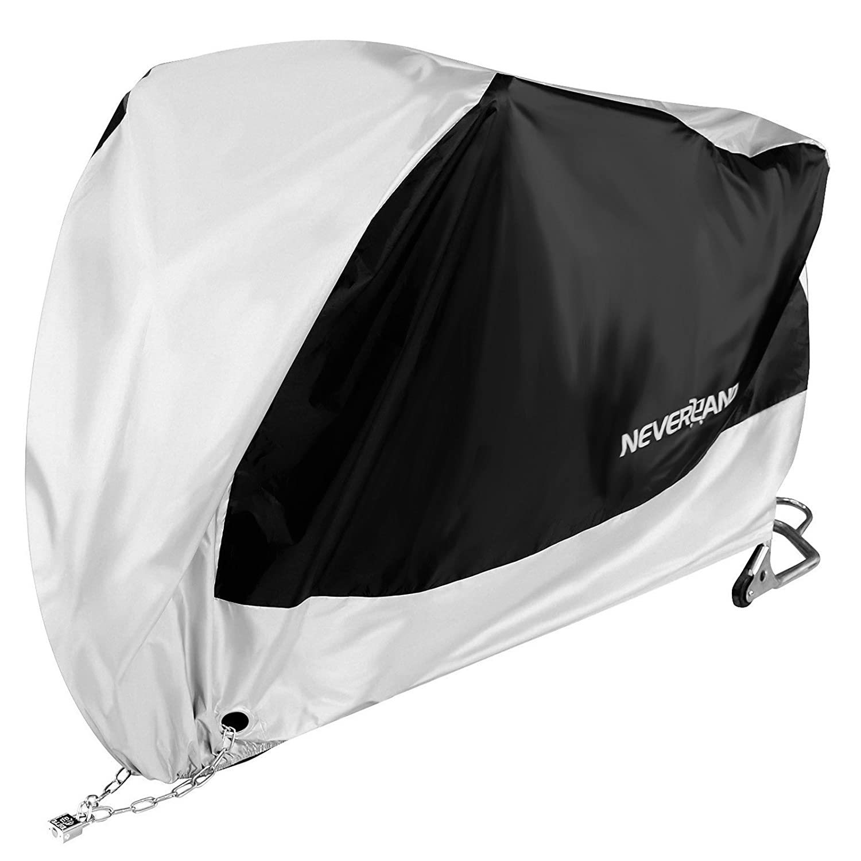 NOVSIGHT Taille XXL Bâ che de Moto Housse de Protection pour Moto Scooter Solide en Tissu 190T Polyester Anti-UV Noir+Argent