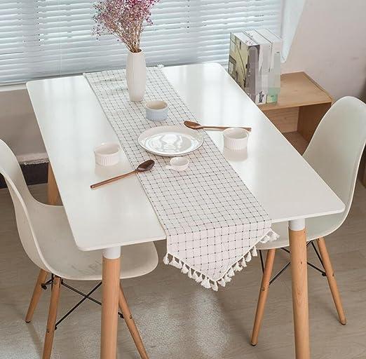 GL&G Nórdico Simple azul y blanco enrejado borla estilo europeo ...