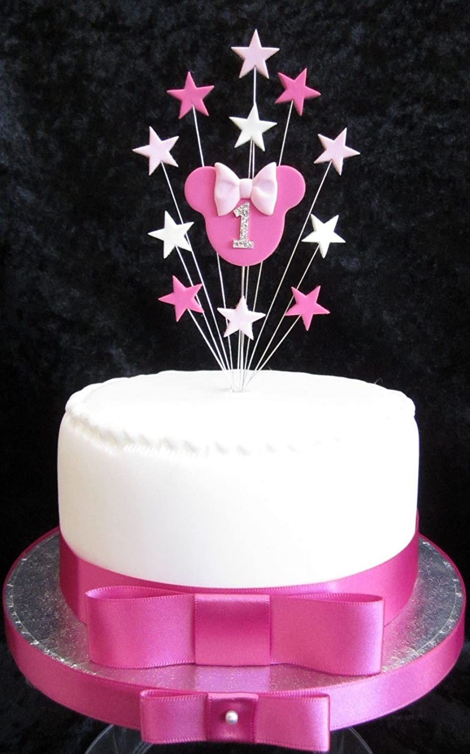 Prime 1St Birthday Cake Topper Minnie Mouse With Stars Suitable For A Funny Birthday Cards Online Overcheapnameinfo