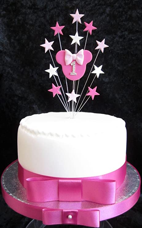 1st Birthday Cake Topper Minnie Mouse With Stars Suitable For A