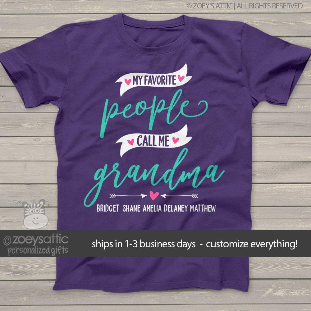 4caeaf03 Amazon.com: grandma shirt | my favorite people call me grandma | nana or  grandma UNISEX shirt personalized with grandkids names | mother's day shirt:  ...