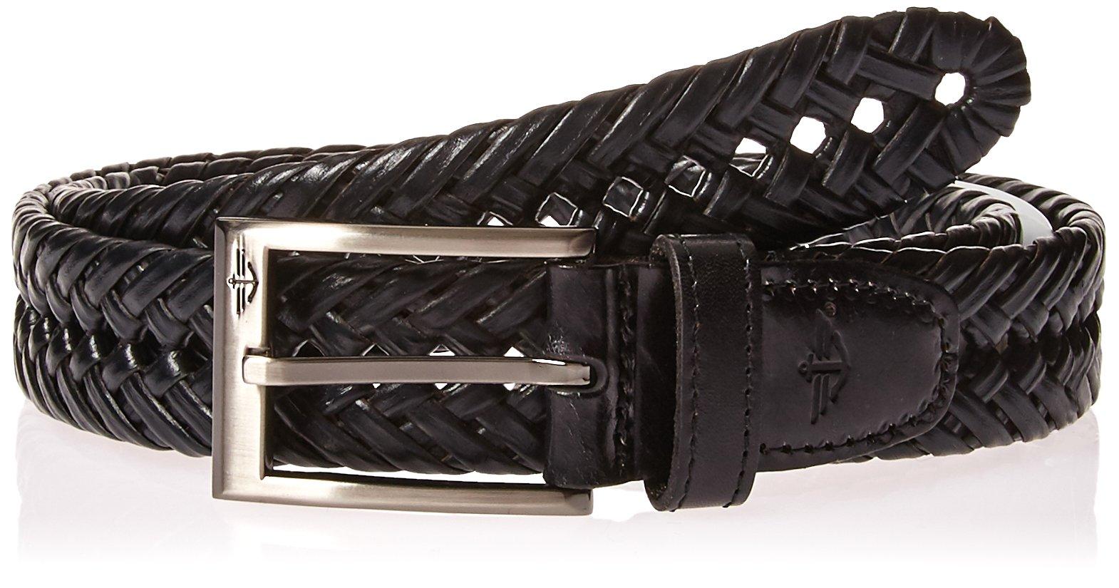 Dockers Men's 1 3/16 In. Glazed Top Braided Belt-black/silver buckley, 42