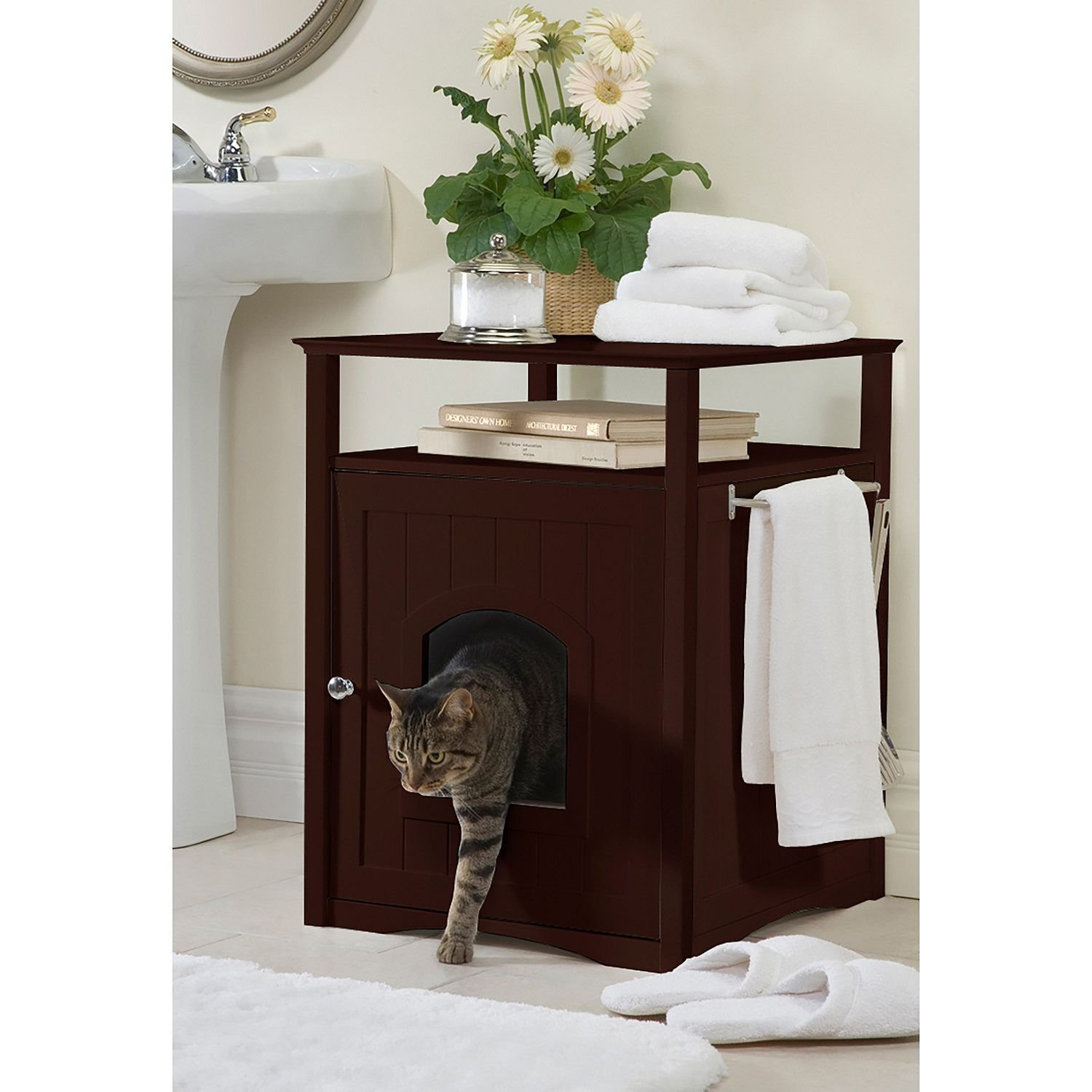 Home Furniture Cat Bed Walnut Finish Comfort Room with Night Stand by Kitty