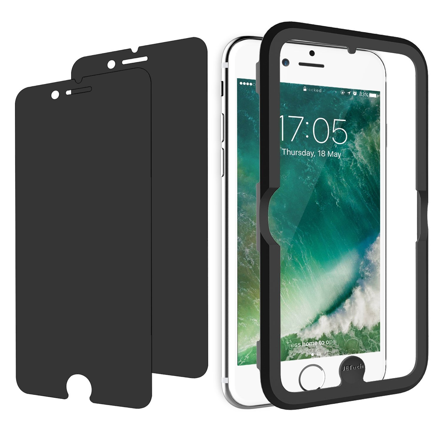 JETech Privacy Screen Protector for Apple iPhone 8 Plus, iPhone 7 Plus,  iPhone 6s Plus, and iPhone 6 Plus, 5 5-Inch, Anti-Spy Tempered Glass Film,