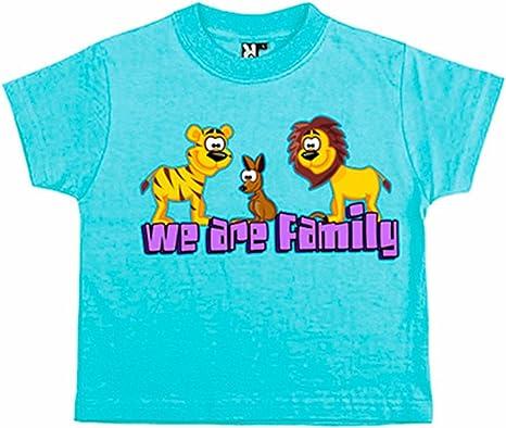 Camiseta niño Animales de la selva We Are Family - Celeste, 3-4 años: Amazon.es: Bebé