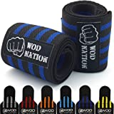"Wrist Wraps by WOD Nation - Wrist Support Straps (12"", 18"" or 24"") - Fits Both Men & Women - Strength Training, Weightlifting, & Powerlifting - Lift Heavier Weight + FREE Carrying Bag Included"
