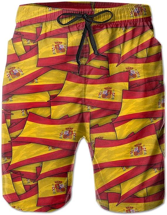 wwoman Pantalones Cortos de Nadar para Hombres Bandera de España Wave Collage Pantalones Cortos de Playa de Secado rápido: Amazon.es: Ropa y accesorios