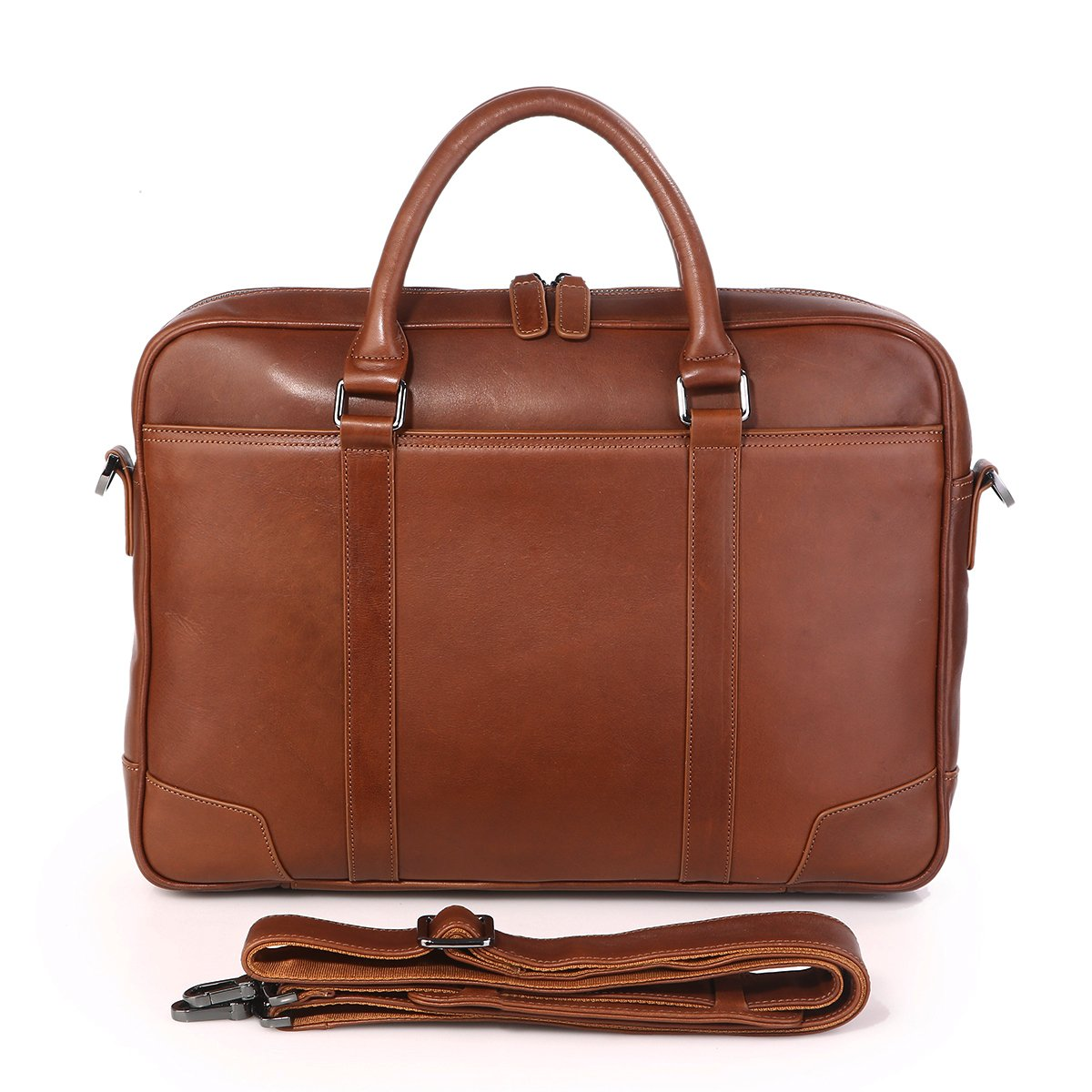 Texbo Genuine Top Cow Leather Business Briefcase Fit 15.6'' Laptop Bag Tote (Brown)
